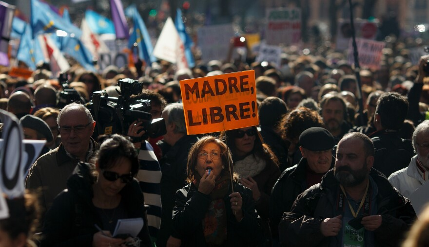 """Abortion-rights groups participate in a """"Freedom Train"""" from Gijon, Spain, to Madrid on Feb. 1 to protest the government's plan to restrict access to abortion."""