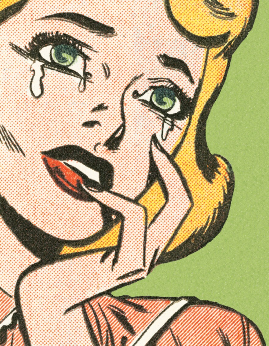 A comic-book style image of a woman crying.