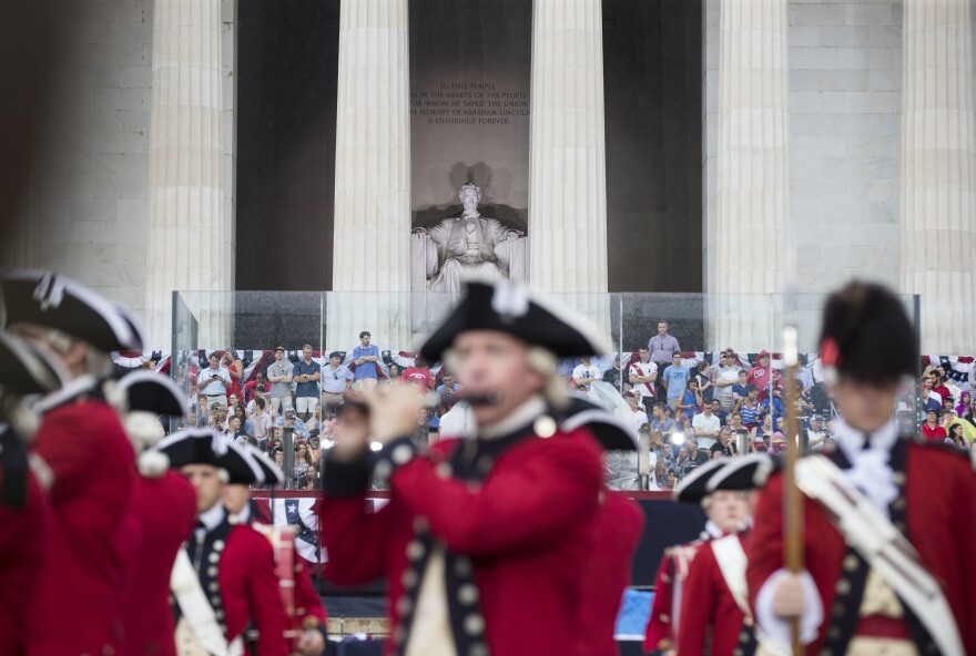 "Bands perform Thursday during opening festivities for the ""Salute to America"" in front of the Lincoln Memorial."