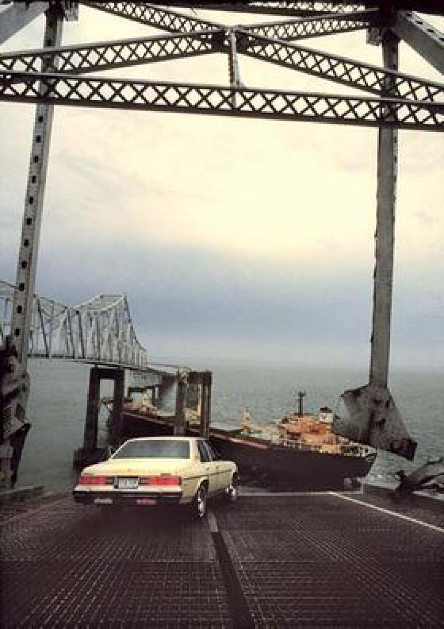Richard Hornbuckle's car rests where it skidded to a stop just 14 inches from the edge of the Sunshine Skyway Bridge, which was struck by a freighter on May 9, 1980.