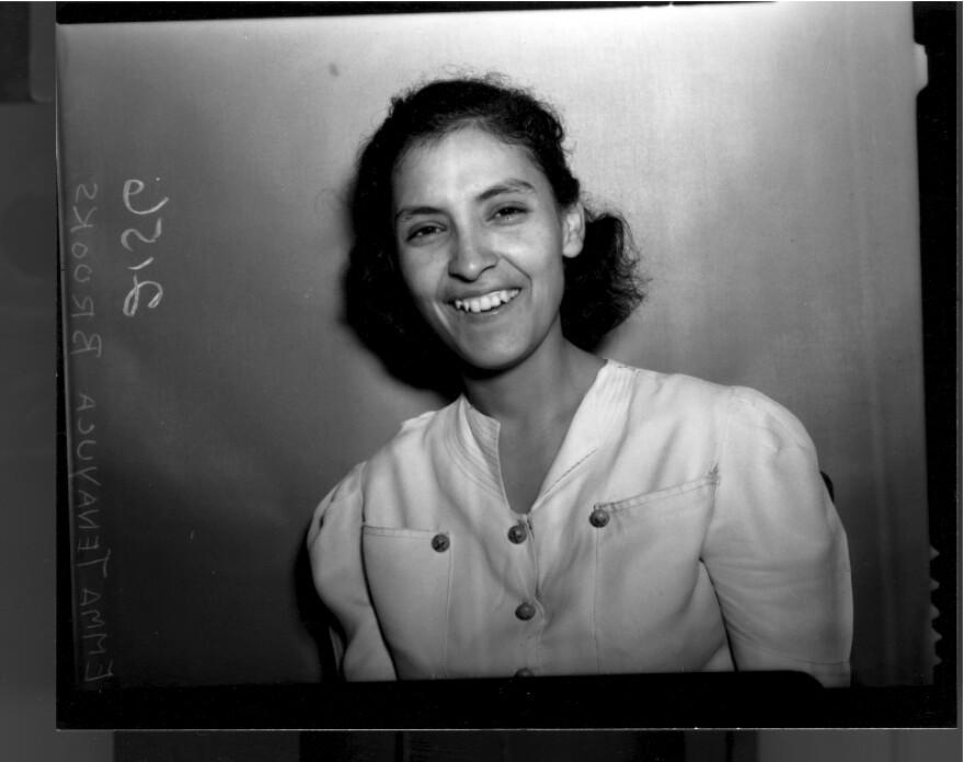 A black and white photo of Emma Tenayuca.