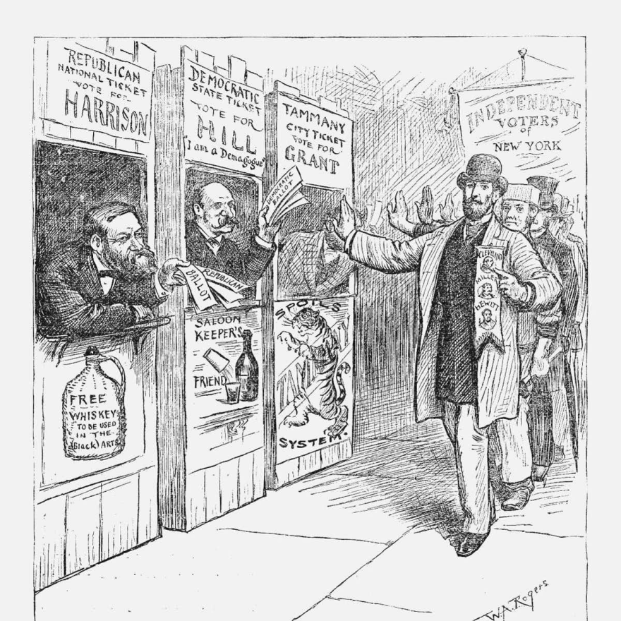 This Harper's Weekly cartoon from 1888 depicts ticket pushers in New York City.