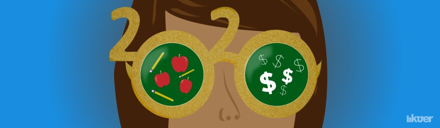 Illustration of 2020 shaped glasses with apples and dollar signs reflected in the lenses.