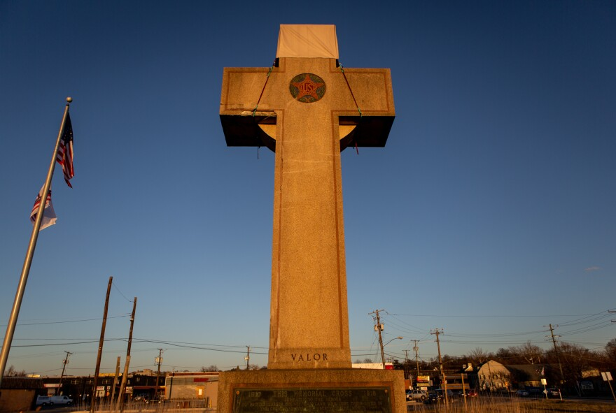 A World War I memorial cross sits in Bladensburg, Md., just outside Washington, D.C. The federal government asked the Supreme Court to rule in favor of the cross, which critics say is an unconstitutional state religious endorsement.