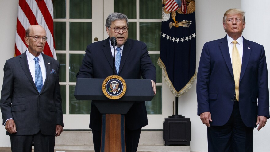 Attorney General William Barr speaks as he stands with President Trump and Commerce Secretary Wilbur Ross during an event about the census in the Rose Garden at the White House earlier this month.