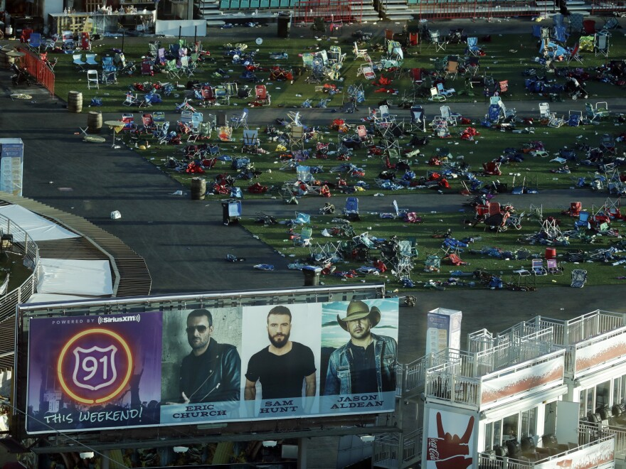 Personal belongings and debris litter the Route 91 Harvest Festival grounds on Tuesday in Las Vegas. Authorities said on Sunday that some items can now be returned to their owners.