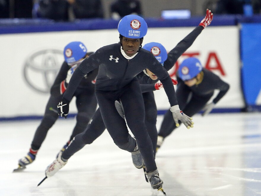 Maame Biney of Reston, Va., races to finish during the women's 500-meter final A during the U.S. Olympic short track speedskating trials in December. She is the first African-American woman to qualify for a U.S. Olympic speedskating team.