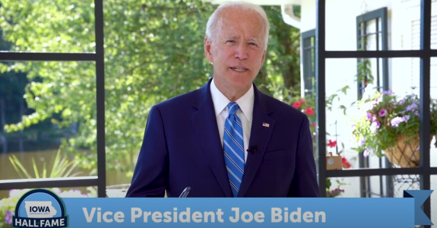 Former Vice President Joe Biden speaks at 2020 Virtual Iowa Democratic Party's Hall of Fame Event on Sunday.
