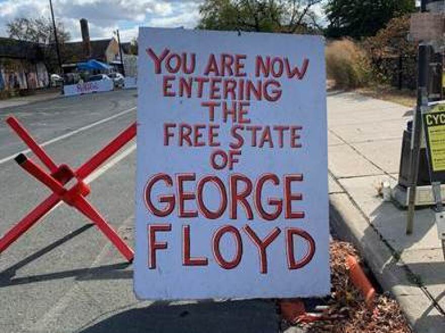 Sign at the entrance of George Floyd Square in Minneapolis