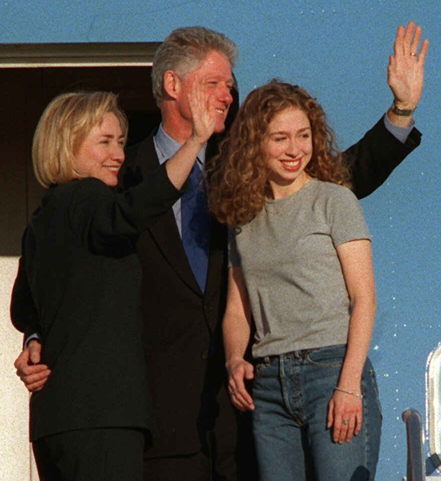 President Bill Clinton and first lady Hillary Clinton wave as they depart from Andrews Air Force Base with Chelsea on her way to starting her freshman year at Stanford University.