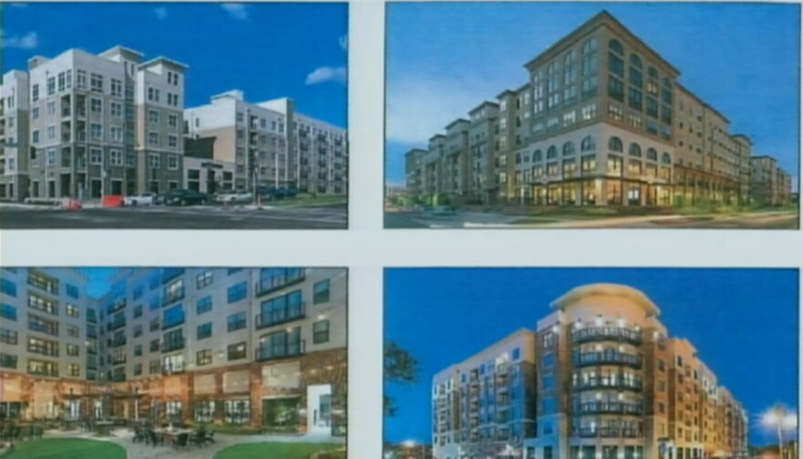 Artist renderings of what a possible mixed use housing development in Frenchtown would look like.