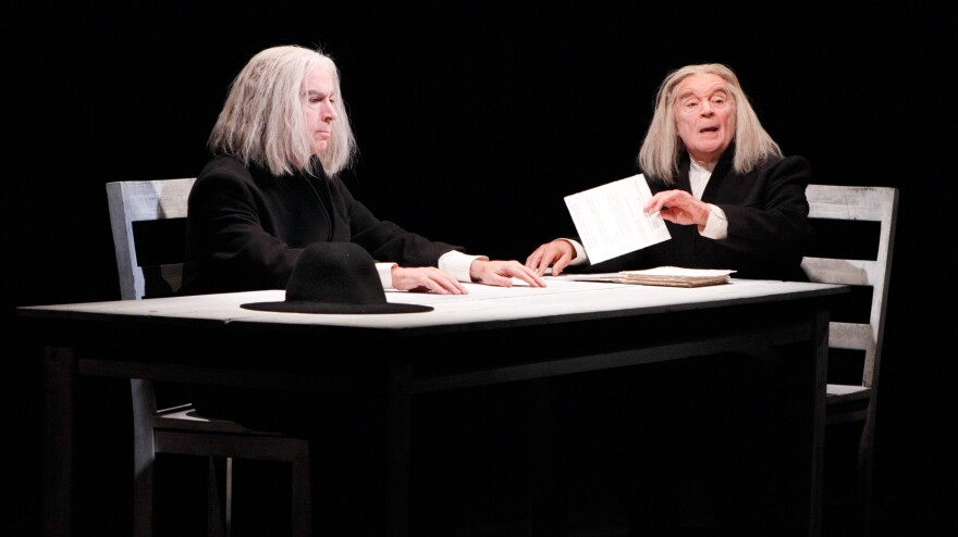 In <em>Ohio Impromptu,</em> one of three short plays featured in <em>Sounding Beckett,</em> the silent character (Philip Goodwin, left, with Ted van Griethuysen) inspired music based on knocks and repetitions.