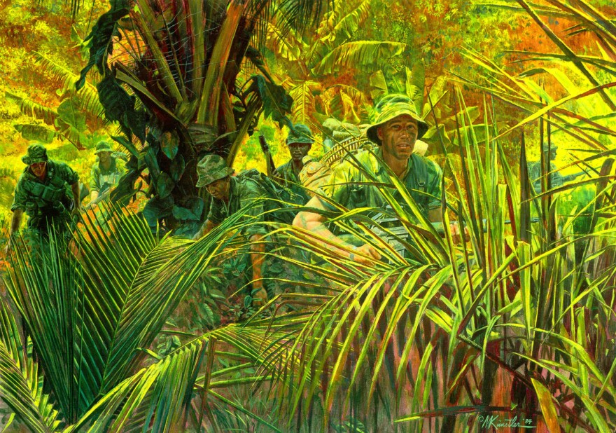 "The National Guard Bureau commissioned this painting, ""Indiana Rangers: The Army Guard in Vietnam,"" as part of its series of paintings depicting significant moments in Guard history. It represents members of the Company D, 151st Infantry division — one of a few Guard units deployed to Vietnam — on duty in the jungle"
