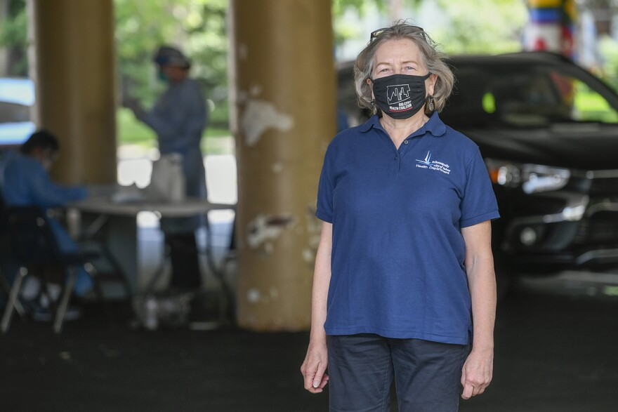woman wearing covid face mask