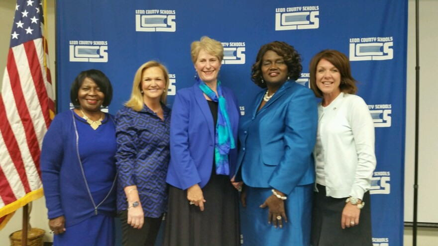 From left to right: Maggie Lewis Butler, Dee Dee Rasmussen, Roseanne Wood, Joy Bowen and Alva Swafford Striplin