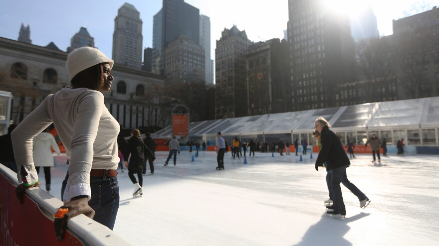 In January, coats and gloves were optional as skaters enjoyed temperatures in the 40s and 50s at New York City's Bryant Park.