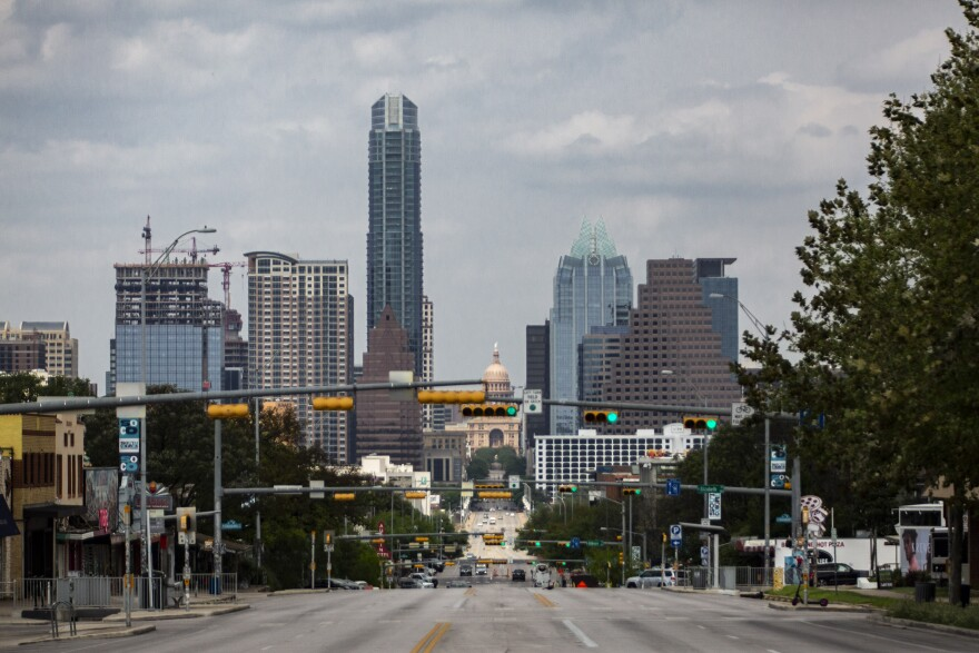 The downtown Austin skyline during the coronavirus pandemic.