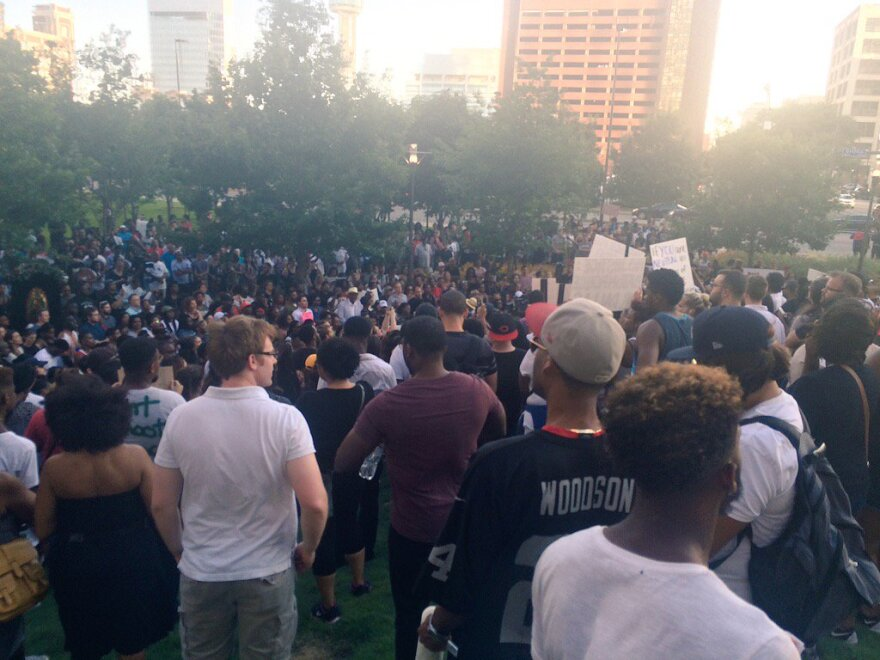 Demonstrators gathered earlier Thursday evening in downtown Dallas.