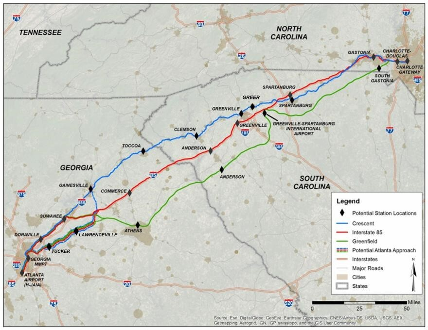 Map shows three proposed routes for a high-speed rail line between Atlanta and Charlotte. A meeting Thursday seeks feedback as officials choose a route.
