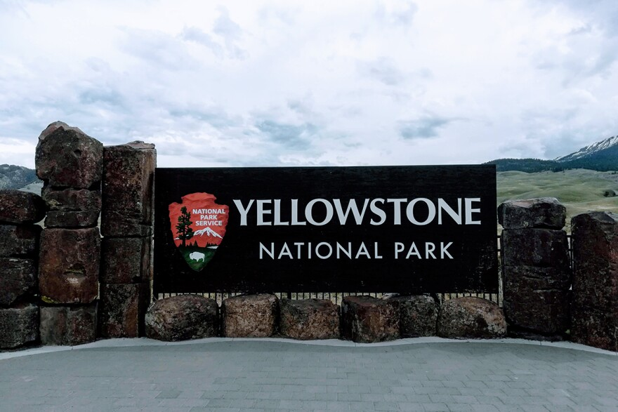 A sign near Gardiner, Montana, sits near the north entrance to Yellowstone National Park, May 16, 2019.