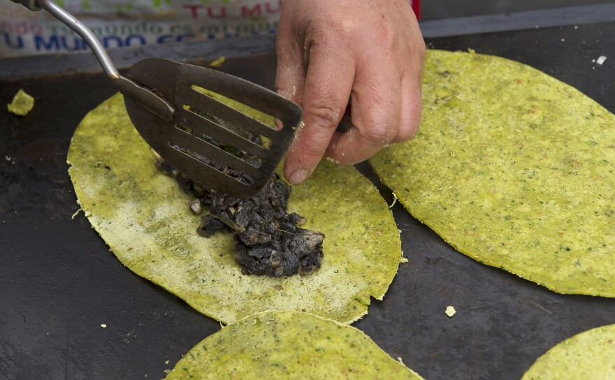 Huitlacoche quesadillas with spinach in Mexico City in 2013.