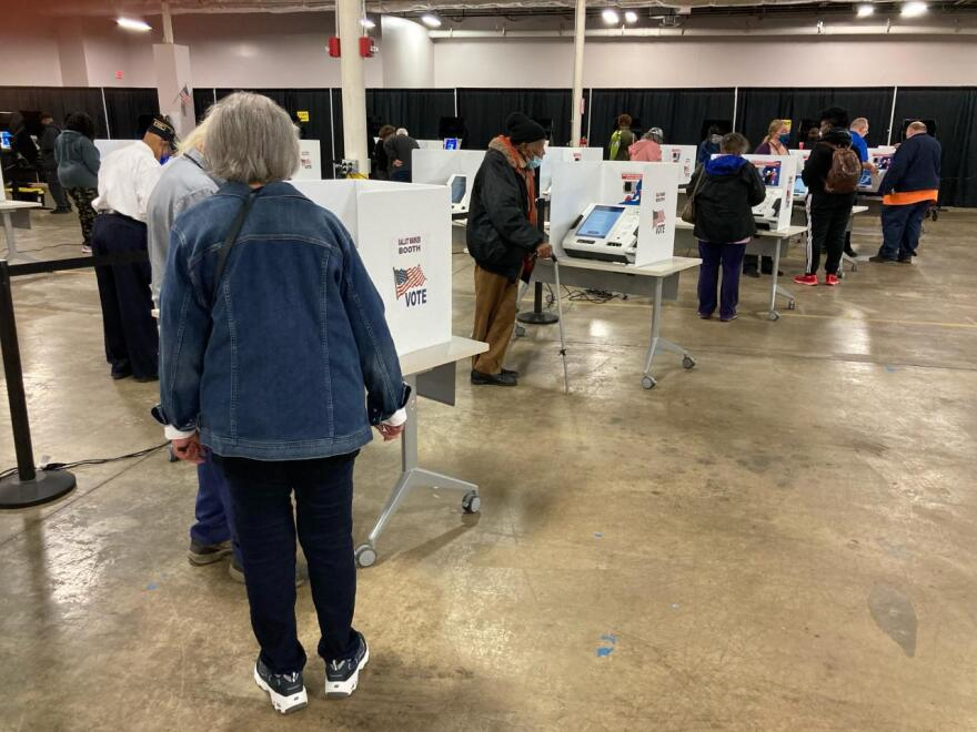 Voters at the Franklin County Board of Elections on the first day of early voting on October 6, 2020