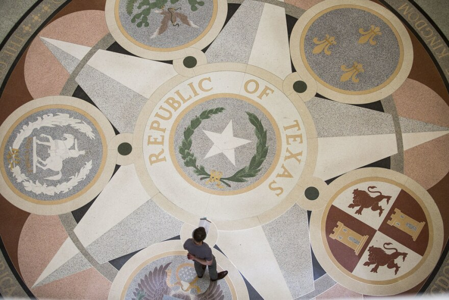 The seal of the Republic of Texas on the floor of the Capitol rotunda