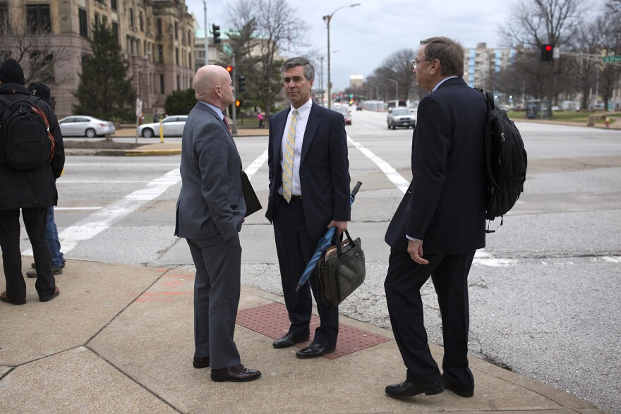 Gov. Eric Greitens' defense team outside the Carnahan Courthouse in downtown St. Louis following a hearing. March 26, 2018.