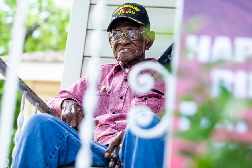 Richard Overton at his East Austin home during his 112th birthday celebrations on May 11, 2018.