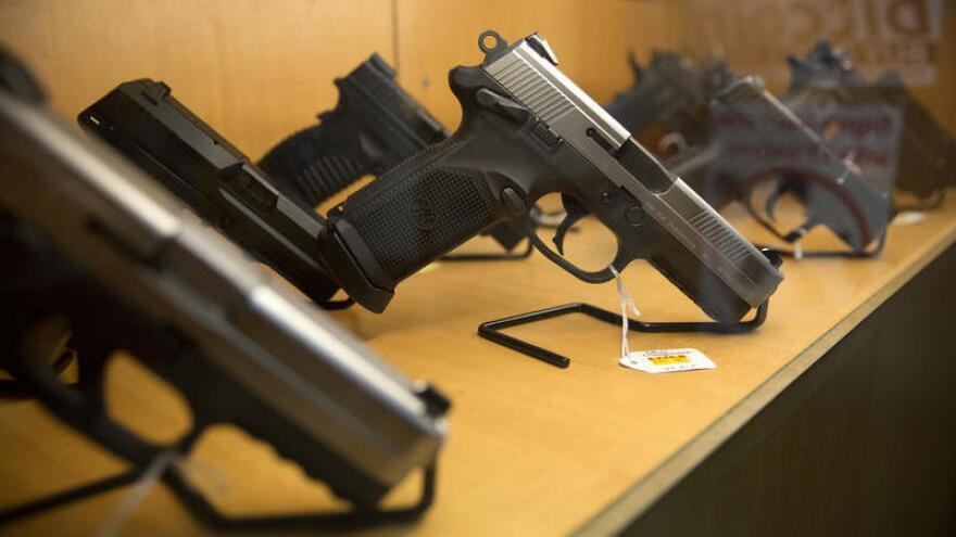 A gun display case at Central Texas Gun Works in Austin, Texas.