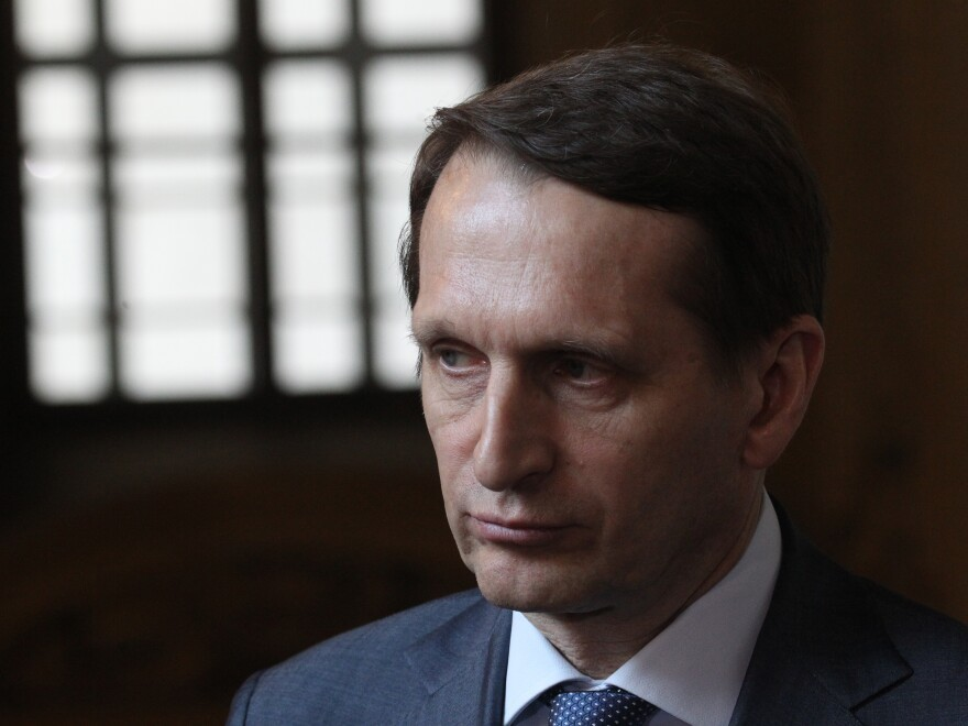 Sergey Naryshkin speaks during the European Social Charter Conference in March 2016 in Turin, Italy, prior to his appointment to head Russia's SVR foreign intelligence service.