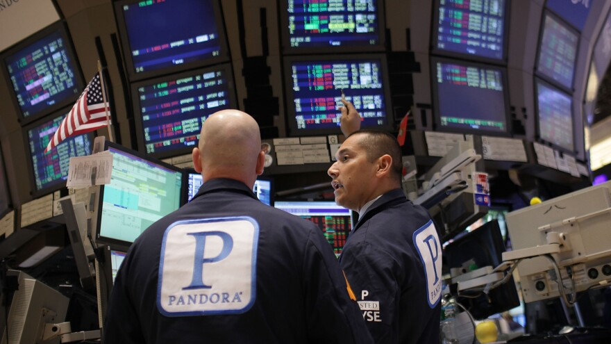 On June 15, the day that Pandora became a publicly traded company, traders on the floor of the New York Stock Exchange wore the company's insignia.