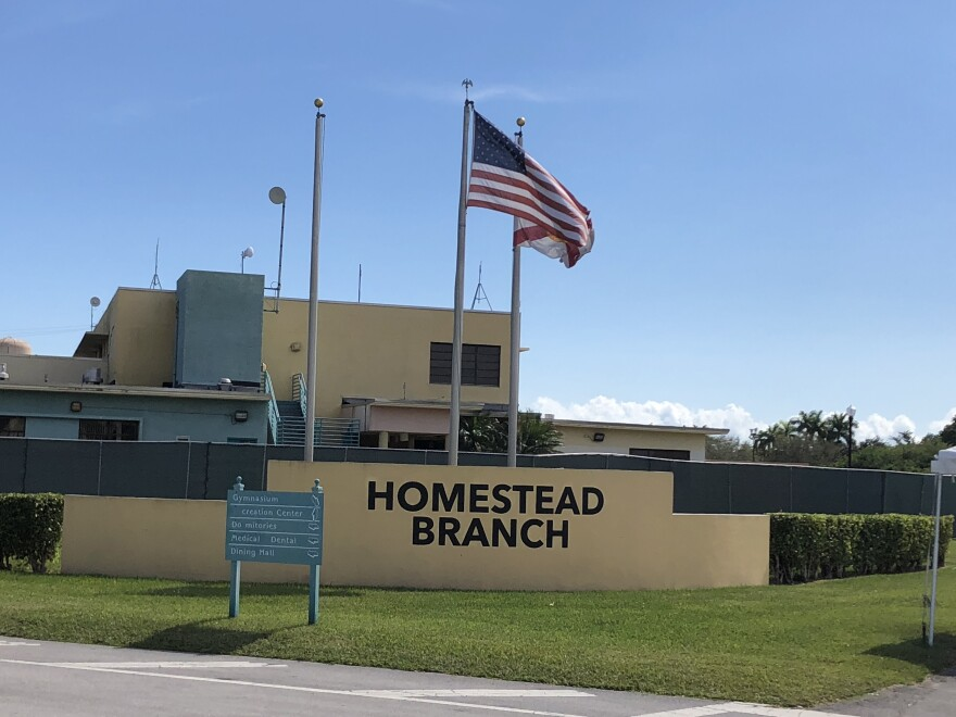 """The Homestead """"temporary influx facility"""" for migrant children is located next to the Homestead Air Reserve Base outside Miami."""