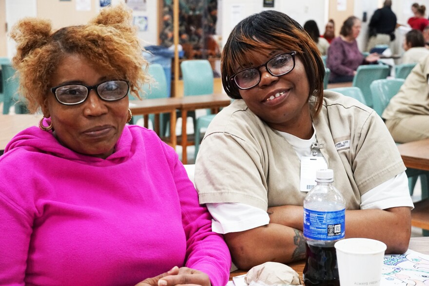 Tina Merriweather, left, and her daughter Latoy Williams during their last family visit on February 23, 2020. A few weeks later, the Missouri Department of Corrections suspended all visits due to the pandemic.