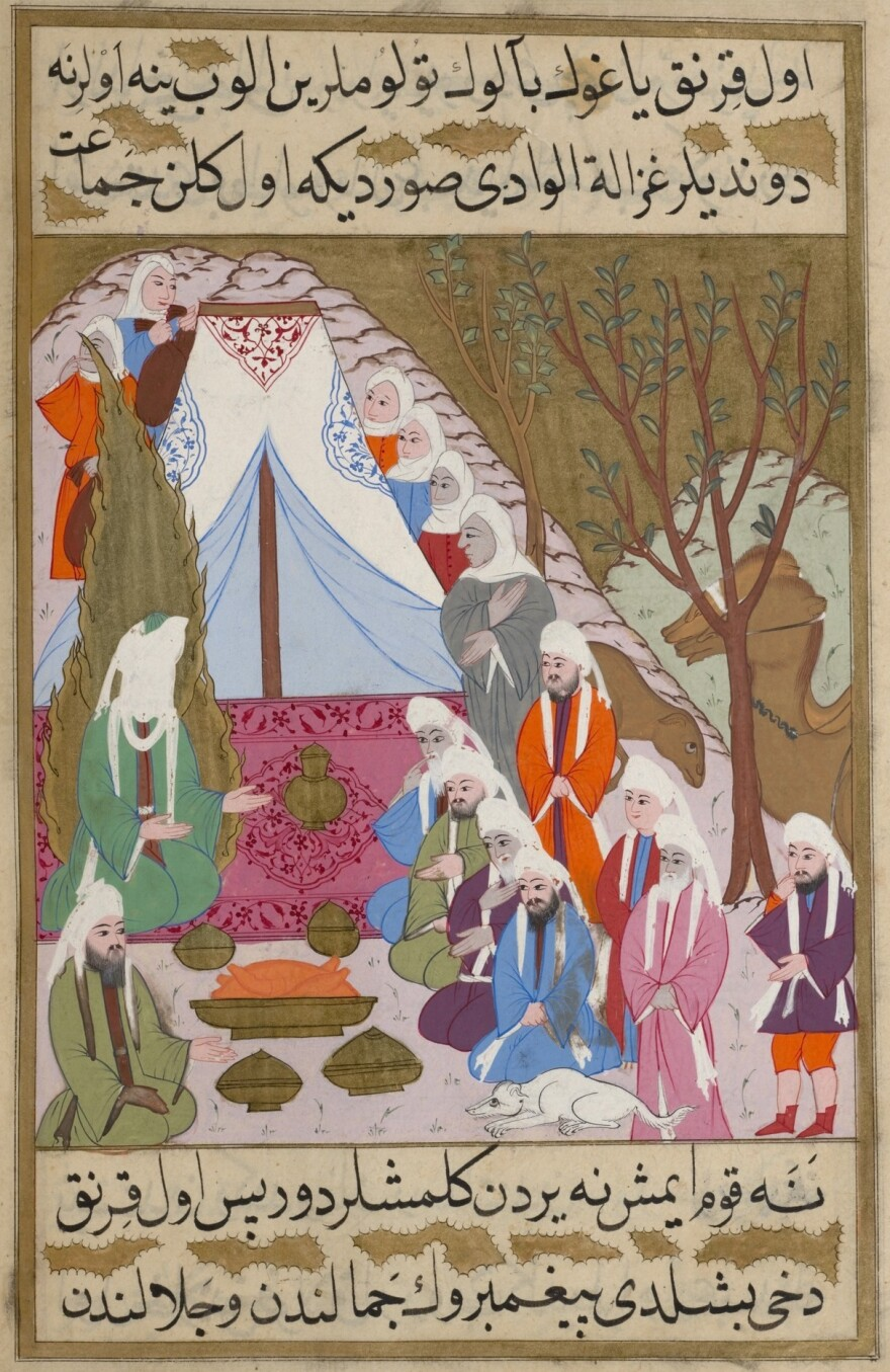 """""""Muhammad and Abu Bakr are feted by Umm Ma'badah's tribe,"""" from a 16th-century illuminated manuscript depicting the life of the prophet Muhammad."""