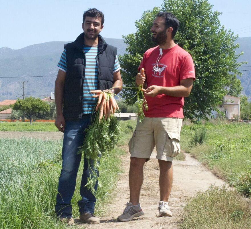 """Ilias Smirlis (left) runs a small family farm in Kalamata, Greece. Before he met entrepreneur Sotiris Lymperopoulos, who runs the food service Radiki, he struggled to sell his produce outside Athens. """"The demand for excellent products will always exist,"""" Smirlis says. """"The challenge is to find a market."""""""