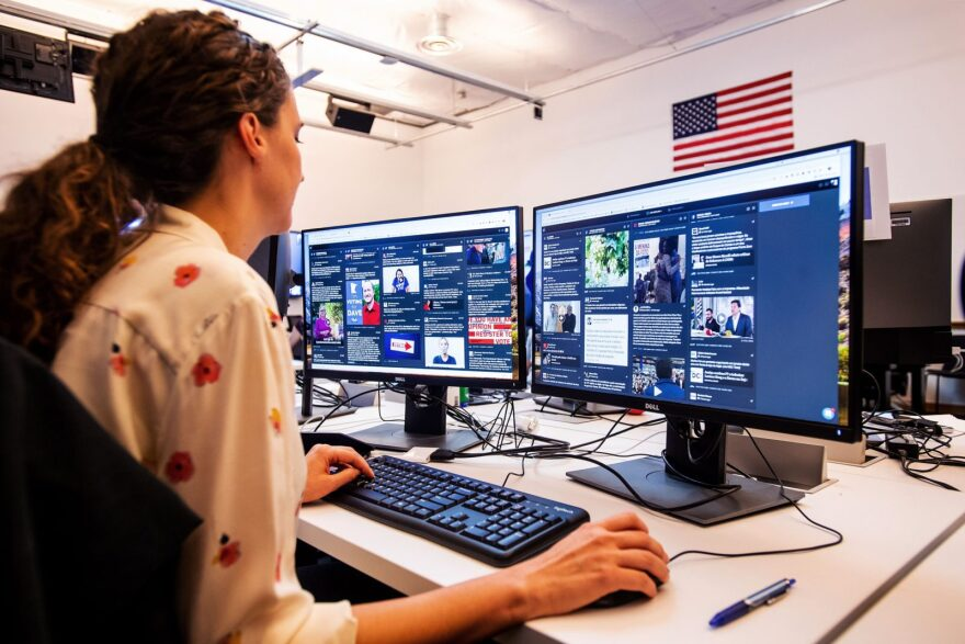 """War room leader for Brazil elections Lexi Sturdy works in Facebook's """"War Room,"""" during a media demonstration in Menlo Park, California."""