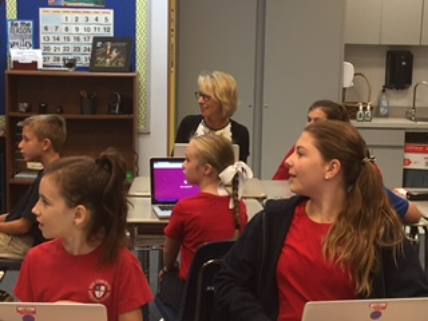 Betsy DeVos visits a 5th grade class at Holy Comforter Episcopal School.