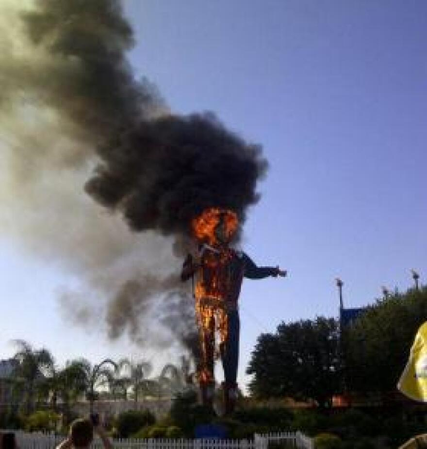In October 2012, Big Tex caught on fire.