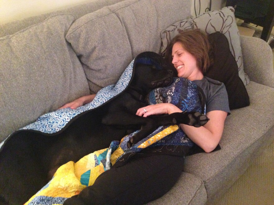"Jessica Kensky lost a leg in the Boston Marathon bombing. When she says, ""Brr, I'm cold,"" Rescue the assistance dog knows to bring her the blanket."