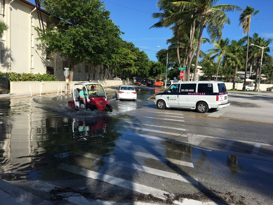 Increased flooding during high tides, like this one in October 2016 in Key West, has raised local concerns about climate change.