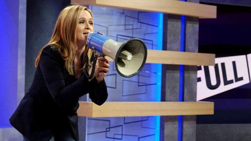 """Samantha Bee doesn't sit behind a desk on her TBS show <em>Full Frontal</em>. She says, """"For me, it would've been a crutch."""""""