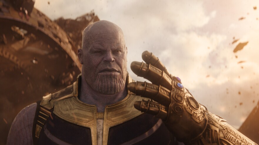 <em>Ya Got The Stones For This?</em> Thanos (Josh Brolin) blithely ignores Coco Chanel's advice on accessorizing — so you <em>know</em> he's evil — in Marvel's <em>Avengers: Infinity War.</em>