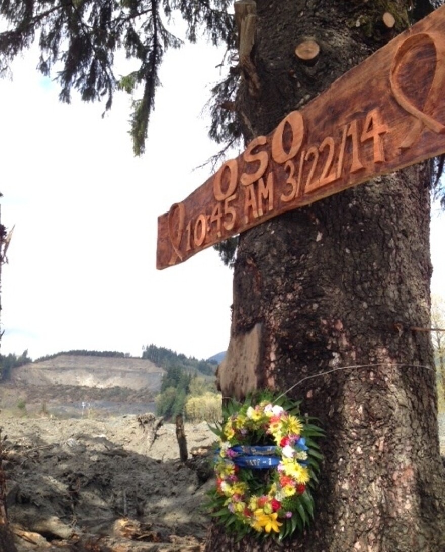 A memorial erected by rescue workers near the site of the March 22 mudslide that killed at least 39 people.