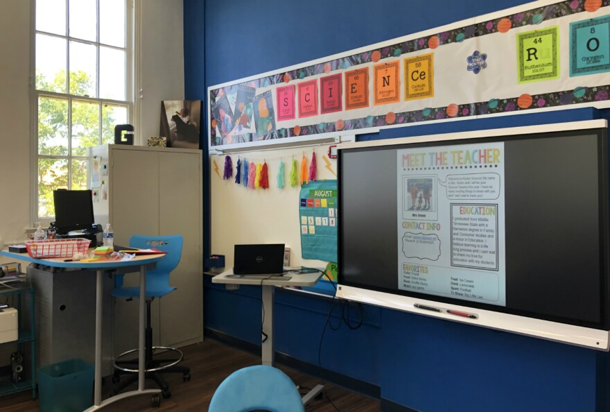 A science classroom at YWLA Primary during a meet-the-teacher event Aug. 9, 2019.