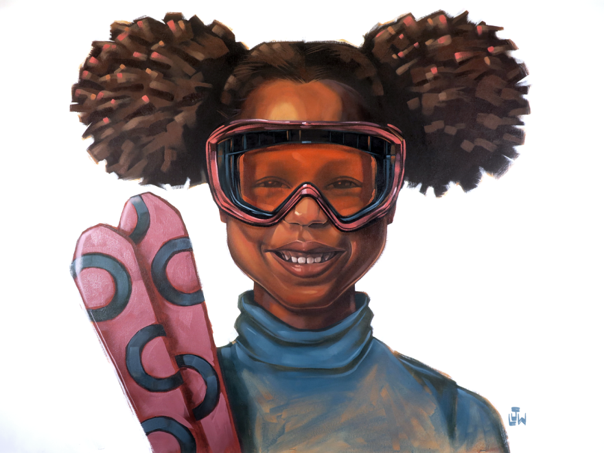 A photo of a young Black girl in skiing gear.