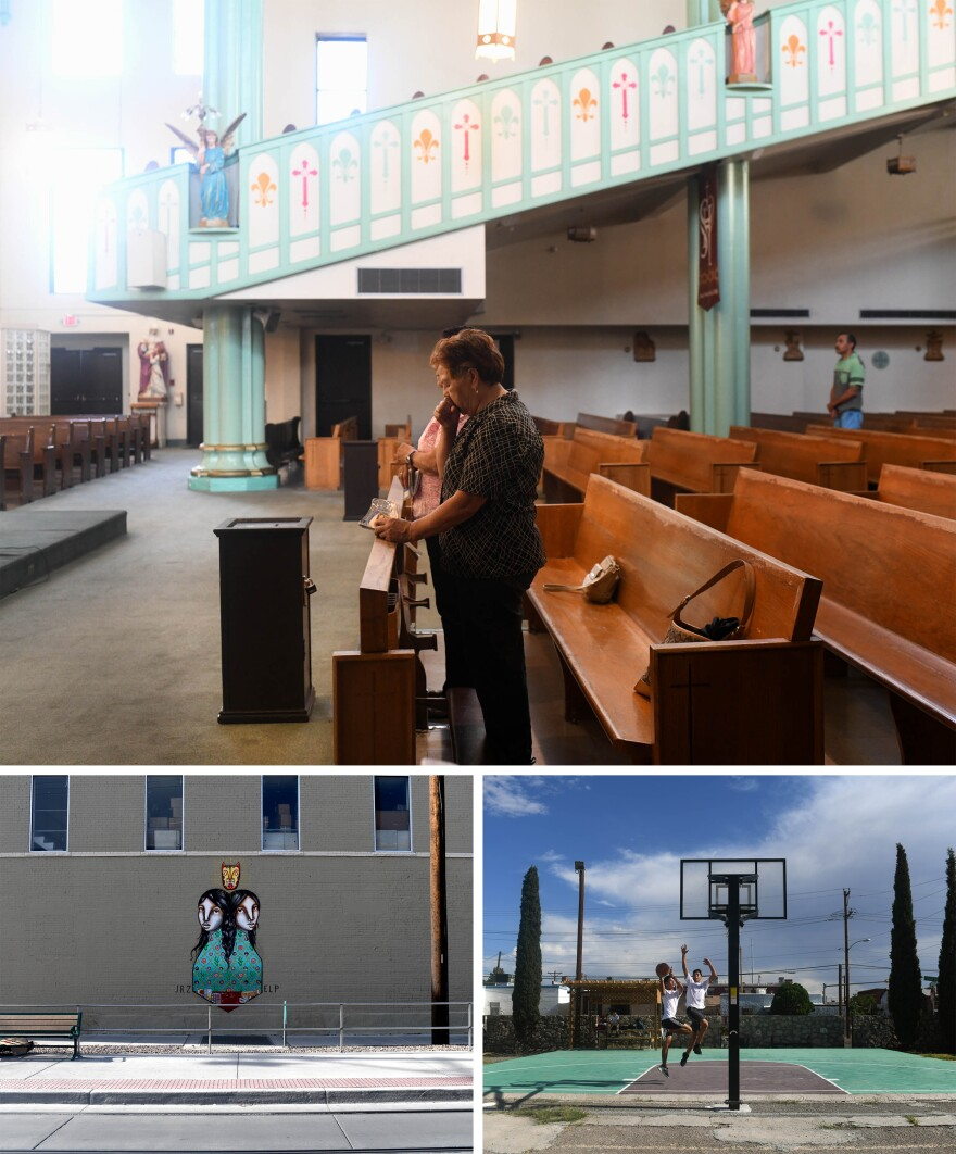 (Top) Sacred Heart Catholic Church, in downtown El Paso, during a service. The people at the service wouldn't comment on whether they vote. (Bottom left) Street art portrays the sister cities of El Paso and Juárez, just across the border. (Bottom right) Diego Ramerez (left) and Daniel Sanchez (right), both 16, play basketball in downtown El Paso at their school, the Lydia Patterson Institute.