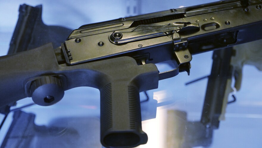 """In the aftermath of the Las Vegas mass shooting, there were widespread calls to ban """"bump stocks,"""" a device attached to a semiautomatic rifle to speed up the firing rate."""
