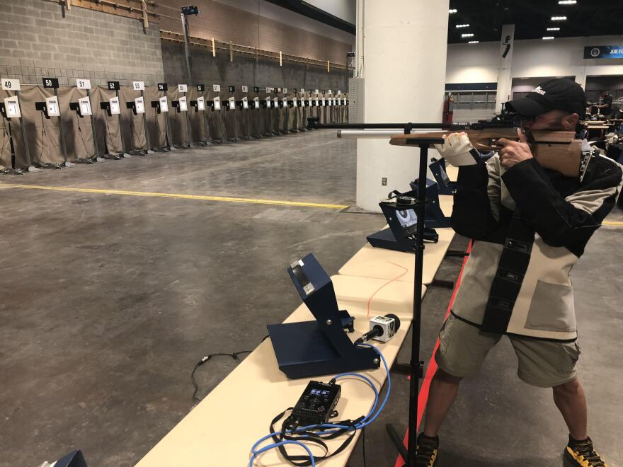 U.S. Army Staff Sgt. Jimmy Covas practices for the shooting competition at the 2019 Warrior Games.