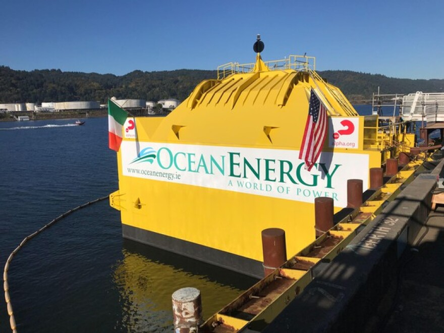 <p>Ocean Energy's OE 35 Buoy was constructed at Portland-based company Vigor. The buoy is set to be released off the Oregon Coast to make it's way to a US Naval Test Site in Hawai'i.&nbsp;</p>